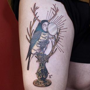 Today's favorite tattoo by Parkkaro #Parkkaro #favoritetattoos #favorite #besttattoos #tattooideas #newtattoo #tattooinspiration #cooltattoos #tattoodoapp #illustrative #bird #surrealism #surreal #leg #antlers