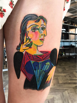 Today's favorite tattoo by LaFragile #LaFragile #favoritetattoos #favorite #besttattoos #tattooideas #newtattoo #tattooinspiration #cooltattoos #tattoodoapp #fineart #pablopicasso #color #painting #cubism #leg