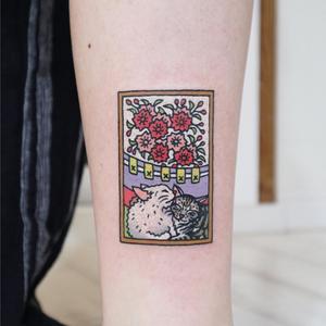 Today's favorite tattoo by Kimsany #Kimsany #favoritetattoos #favorite #besttattoos #tattooideas #newtattoo #tattooinspiration #cooltattoos #tattoodoapp #cat #Kitties #flowers #floral #pattern #color #cute #leg