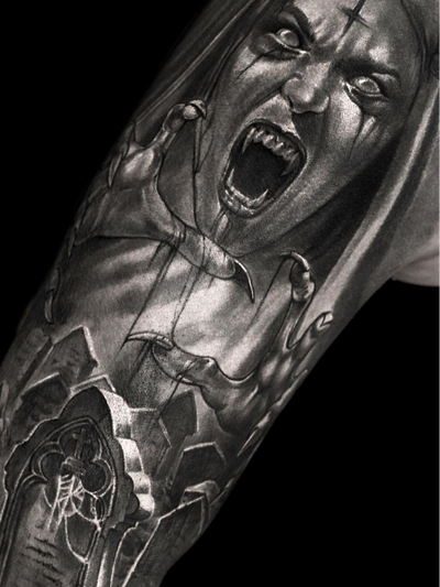 Horror tattoo by Elen Soul #ElenSoul #horrortattoos #horrortattoo #horror #darkart #evil #demon #darkness #death #blackandgrey #vampire #cathedral #blood #cemetary #portrait #upsidedowncross