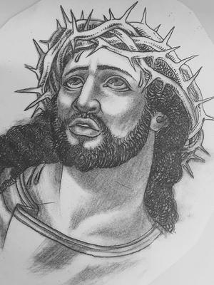 Tattoo art by Hanna Sandstrom #HannaSandstrom #DarkAgeSeattle #Seattle #blackandgrey #Jesus #illustration #tattooart #tattooflash