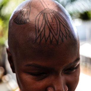 Scalp tattoo by Dillon Forte #DillonForte #LondonTattooConvention #LondonTattooConvention2019 #London #tattooconvention #blackwork #linework #scalp #Egyptian #lotus