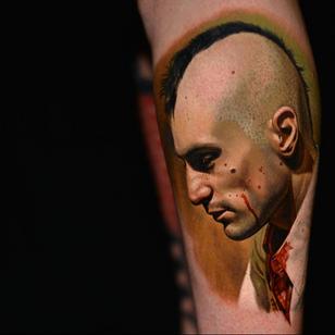 Realism tattoo by Nikko Hurtado #NikkoHurtado #LondonTattooConvention #LondonTattooConvention2019 #London #tattooconvention #realism #realistic #hyperrealism #TaxiDriver #movietattoo #robertdeniro