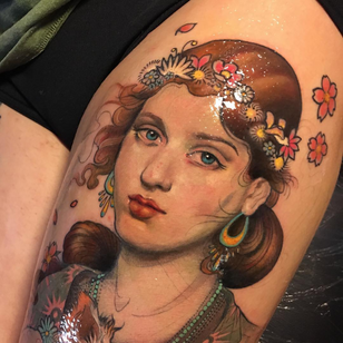 Cherry blossom tattoo by Aimee Cornwell #AimeeCornwell #cherryblossomtattoos #cherryblossom #flowers #floral #nature #plant #cherryblossomtattoo #color #artnouveau #ladyhead #neotraditional #painterly #legtattoo