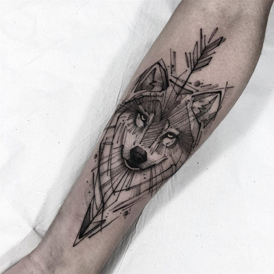 Wolf tattoo by Lucas Martinelli #LucasMartinelli #wolftattoo #wolftattoos #wolf #animal #nature #wolves #illustrative #linework #dotwork #illustrativewolftattoo #arrow #arrowtattoo #arm