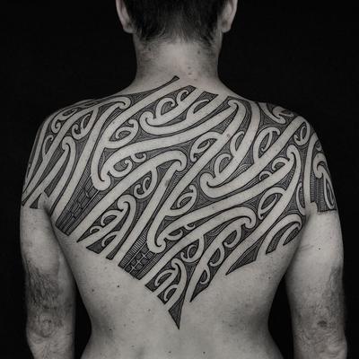 Tribal back tattoo by Manawa Tapu #ManwaTapu #blackwork #tribal #tribaltattoo #tamoko #maori #polynesian #linework #pattern #backtattoo #backpiece