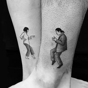 Pulp Fiction tattoos by DaveQTattoos #daveqtattoos #bestfriendtattoos #friendshiptattoos #friendtattoos #bfftattoo #matchingfriendtattoos #pulpfiction #movietattoos #filmtattoo