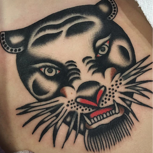 Traditional tattoo by Enrico Grosso aka Henry Big #EnricoGrosso #HenryBig #traditional #americantraditional #trad #traditionaltattoo #panther #cat