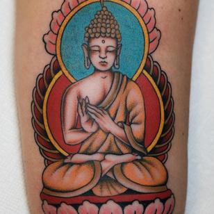 Buddha tattoo by Tony Talbert #TonyTalbert #buddhisttattoo #buddhatattoo #buddhism #buddha #enlightenment #meditation #easternreligion #traditional #lotus #portrait #arm