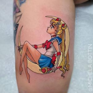 Tattoo by Michela Bottin #MichelaBottin #newschooltattoo #newschool #color #fineline #finelinetattoo #SailorMoon #anime #animetattoo