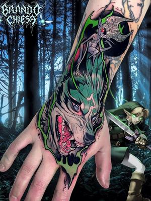 Wolf tattoo by Brando Cheisa #BrandoCheisa #wolftattoo #wolftattoos #wolf #animal #nature #wolves #newschool #anime #manga #illustrative #videogame #newschoolwolftattoo #handtattoo #color