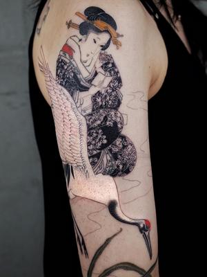 Geisha and crane tattoo by Haku #Haku #TattoodoApp #tattooartist #tattooart #tattooidea #inspiringtattoo #besttattoo #awesometattoo #crane #japanese #irezumi #geisha #illustrative #arm