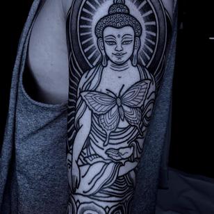 Buddha tattoo by Savannah Colleen #SavannahColleen #buddhisttattoo #buddhatattoo #buddhism #buddha #enlightenment #meditation #easternreligion #blackwork #linework #dotwork #butterfly #portrait #arm