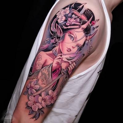 Cherry blossom tattoo by Hori Benny #HoriBenny #cherryblossomtattoos #cherryblossom #flowers #floral #nature #plant #cherryblossomtattoo #geisha #devil #sword #japanese #anime #manga #halfsleeve #armtattoo