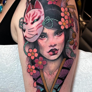 Cherry blossom tattoo by Hannah Flowers #HannahFlowers #cherryblossomtattoos #cherryblossom #flowers #floral #nature #plant #cherryblossomtattoo #neotraditional #kitsune #fox #mask #geisha #japanese #ladyhead