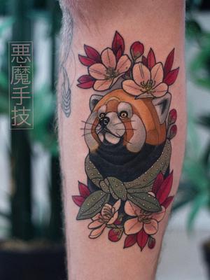 Cherry blossom tattoo by Akuma Shugi #AkumaShugi #cherryblossomtattoos #cherryblossom #flowers #floral #nature #plant #cherryblossomtattoo #redpanda #animal #cute #japanese #neotraditional #color #lowerleg