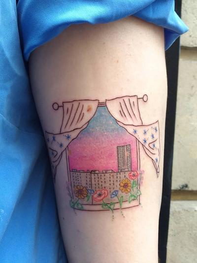 Illustrative tattoo by Katie Mcpayne #KatieMcpayne #illustrative #linework #queertattooer #vegantattoo #colortattoo #fineline #cityscape #window #stars #flower #floral #sunset #sunrise