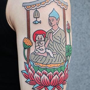 Buddha tattoo by Kim Sany #KimSany #buddhisttattoo #buddhatattoo #buddhism #buddha #enlightenment #meditation #easternreligion #lotus #kitty #cat #arm #color