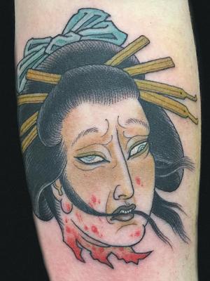 Namakubi tattoo by Hanna Sandstrom #HannaSandstrom #DarkAgeSeattle #Seattle #Japanese #Irezumi #color #Namakubi #severedhead #geisha #blood #death