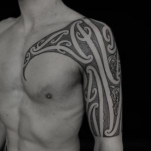 Tribal tattoo by Manawa Tapu #ManawaTapu #blackwork #tribal #tribaltattoo #tamoko #maori #polynesian #linework #pattern