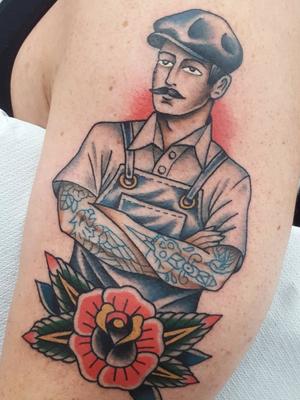 Workin' man tattoo by Nikko Barber aka nikkotattooer #NikkoBarber #Nikkotattooer #Berlintattoo #tattooBerlin #traditional #AmericanTraditional #color #oldschool #tattooedtattoo #rose #man #worker #bluecollar