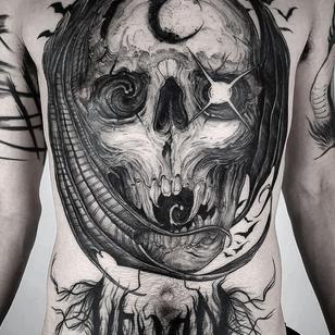 Horror tattoo by Leny Tusfey #LenyTusfey #horrortattoos #horrortattoo #horror #darkart #evil #demon #darkness #death #blackandgrey #illustrative #skull #bat #chesttattoo #chestpiece #moon #star