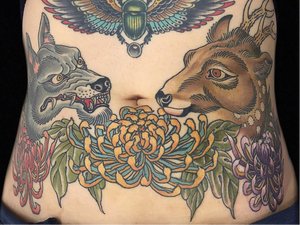 Stomach tattoo by Hanna Sandstrom #HannaSandstrom #DarkAgeSeattle #Seattle #Japanese #traditional #mashup #wolf #deer #antlers #chrysanthemum #flowers #floral #color #animal #nature #stomach