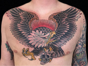 Eagle tattoo by Hanna Sandstrom #HannaSandstrom #DarkAgeSeattle #Seattle #traditional #eagle #wings #feathers #skull #color #traditionaltattoo #chesttattoo #chestpiece