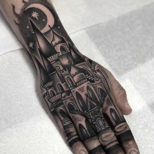 Hand tattoo by Heidi Furey #HeidiFurey #tattooideas #tattooidea #tattooinspiration #tattoodesign #tattoodesignidea #tattooinspo #illustrative #castle #handtattoo #moon #stars