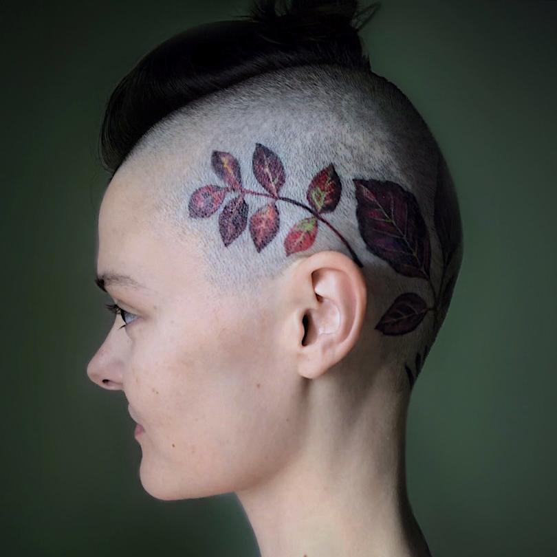 Scalp tattoo by Rita aka Rit Kit on Morgan English aka Tattrx #RitKit #MorganEnglish #Tattrx #tattoocollector #scalptattoo #floraltattoo #leaftattoo #plant #leaves #floral #nature