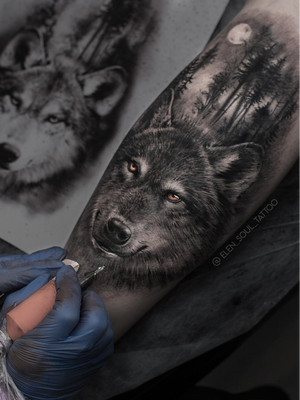 Wolf tattoo by Elen Soul #ElenSoul #wolftattoo #wolftattoos #wolf #animal #nature #wolves #realism #realistic #hyperrealism #realismwolftattoo #hyperrealismwolftattoo #blackandgrey #forest #moon #arm
