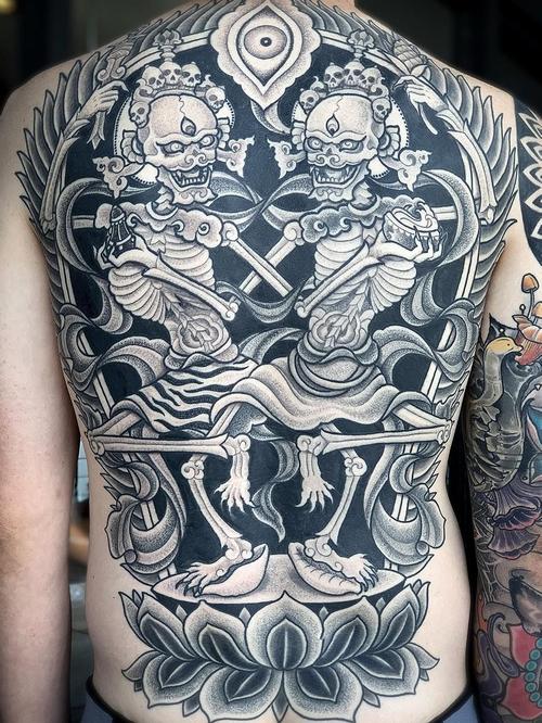 Buddhist tattoos by Aries Rhysing #AriesRhysing #buddhisttattoo #buddhatattoo #buddhism #buddha #enlightenment #meditation #easternreligion #dotwork #skeletondance #citipati #lotus #deity #blackandgrey