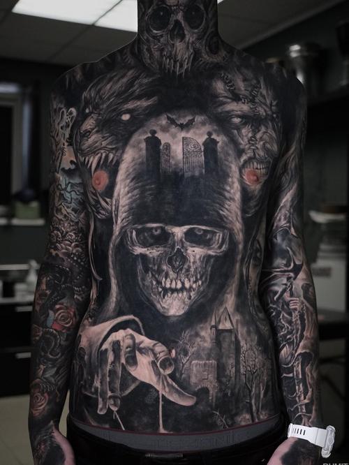 Horror tattoo by Timur Rumit #TImurRumit #horrortattoos #horrortattoo #horror #darkart #evil #demon #darkness #death #reaper #bat @wolf #zombie #realism #realistic #graveyard #bodysuit #chesttattoo