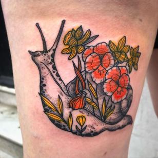 Snail tattoo by Lauren Hepple #LaurenHepple #snailtattoo #snailtattoos #snail #nature #animal #illustrative #flower #floral #plants #linework #dotwork