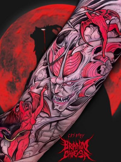 Horror tattoo by Brando Chiesa #BrandoChiesa #horrortattoos #horrortattoo #horror #darkart #evil #demon #darkness #death #vampire #devil #hell #snake #anime #manga #gore #monster #armtattoo #color
