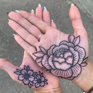 Cherry blossom tattoo by Luke A Ashley #LukeAAshley #cherryblossomtattoos #cherryblossom #flowers #floral #nature #plant #cherryblossomtattoo #palmtattoo #peony #palm #hand #blackwork #linework