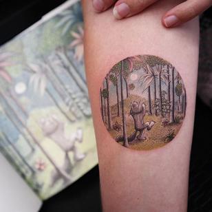 Where the Wild Things Are - illustrative tattoo by Eva Krbdk #EvaKrbdk #tattooideas #tattooidea #tattooinspiration #tattoodesign #tattoodesignidea #tattooinspo #illustrative #wherethewildthingsare #childrensbook #mauricesendak