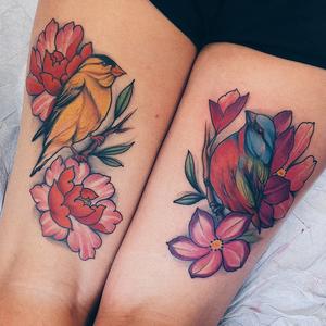 Tattoo by Jaylind Hamilton #JaylindHamilton #jaybaby #japanese #neotraditional #japanesetattoo #illustrative #qpocttt #legtattoo #colortattoo #bird #feathers #wings #peony #flowers #floral