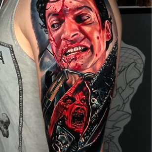 Horror tattoo by Alex Rattray #AlexRattray #EvilDead #horrortattoos #horrortattoo #horror #darkart #evil #demon #darkness #death #realism #realistic #color #hyperrealism #portrait #zombies #movietattoo #armtattoo