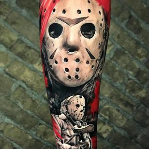 Horror tattoo by Marcelo Mack #MarceloMack #Fridaythe13th #JasonVoorhees #horrortattoos #horrortattoo #horror #darkart #evil #demon #darkness #death