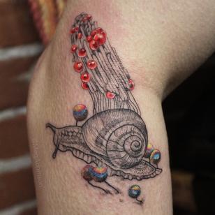 Snail tattoo by Meg Adamson #MegAdamson #snailtattoo #snailtattoos #snail #nature #animal #illustrative #fungi #color #linework #dotwork