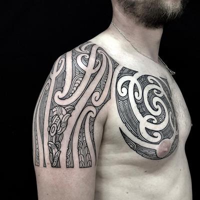 Tribal tattoo by Manawa Tapu #ManawaTapu #blackwork #tribal #tribaltattoo #tamoko #maori #polynesian #linework #pattern #chest #arm