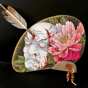 Painted fan by Steve H Morante for The Fan Club Art Fundraiser produced by Stef Bastian #SteveHMorante #LondonTattooConvention #LondonTattooConvention2019 #London #tattooconvention #japanese #Namakubi #peony