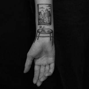 Tattoo by Servadio #illustrative #IllustrativeTattoo #table #painting