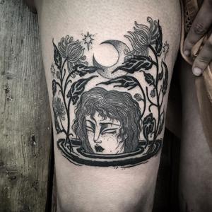 Blackwork tattoo by Lixi #Lixi #LixiSickandNormal #TattooArtist #tattooartistinterview #londontattoo #blackworktattoo #illustrativetattoo #linework #dotwork