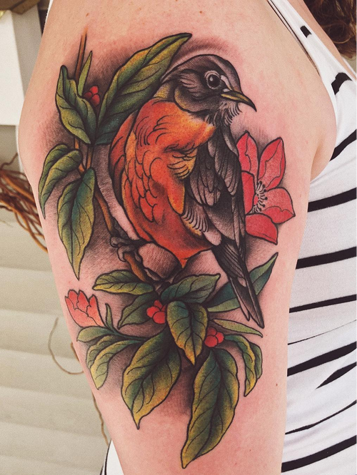 Tattoo by Jaylind Hamilton #JaylindHamilton #jaybaby #japanese #neotraditional #japanesetattoo #illustrative #qpocttt #bird #flower #floral #nature #feathers #animal #wings