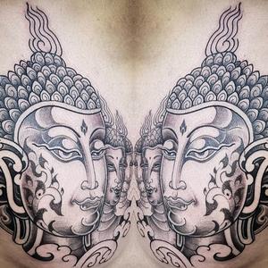 Buddha tattoo by Pepe Vicio #PepeVicio #buddhisttattoo #buddhatattoo #buddhism #buddha #enlightenment #meditation #easternreligion #dotwork #illustrative #blackandgrey