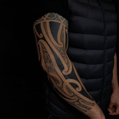 Tribal tattoo by Manwa Tapu #ManawaTapu #blackwork #tribal #tribaltattoo #tamoko #maori #polynesian #linework #pattern #sleeve #arm