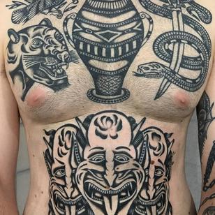 Traditional tattoo by Enrico Grosso aka Henry Big #EnricoGrosso #HenryBig #traditional #americantraditional #trad #traditionaltattoo #panther #snake #sword #demon #devils #vase #bird #stomach #chest #blackwork