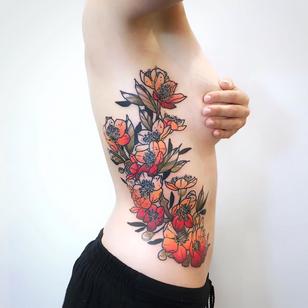 Cherry blossom tattoo by Anais aka Anaisseasun #Anaisseasun #Anais #cherryblossomtattoos #cherryblossom #flowers #floral #nature #plant #cherryblossomtattoo #sidetattoo #risbtattoo #color #illustrative